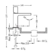 Grifo monomando de lavabo en acero PROJECT-TRES