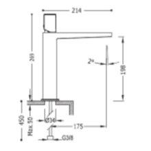 Grifo monomando mediano en acero de lavabo PROJECT-TRES