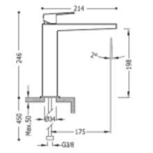 Grifo monomando mediano acero maneta de lavabo PROJECT-TRES