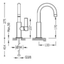 Grifo de lavabo acero con maneta PROJECT-TRES