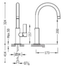Grifo de lavabo acero mediano con maneta PROJECT-TRES