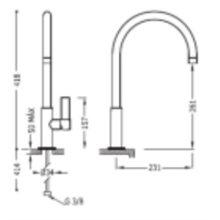 Grifo de lavabo acero alto con maneta PROJECT-TRES
