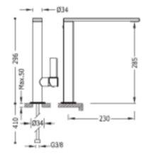 Grifo de lavabo negro de caño alto PROJECT-TRES