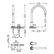 Grifo de lavabo acero monomando en batería PROJECT-TRES