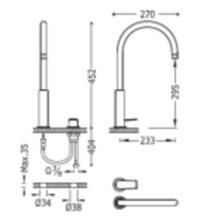 Grifo lavabo acero alto monomando en batería PROJECT-TRES