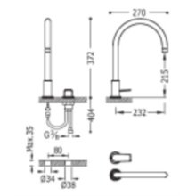 Grifo de lavabo blanco monomando en batería PROJECT-TRES