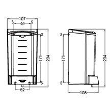 Dispensador jabón 1,1L negro pulsador Mediclinics