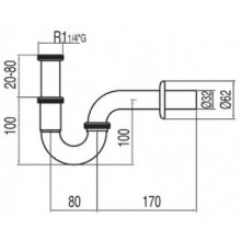 Sifón para lavabo curvo articulado TRES