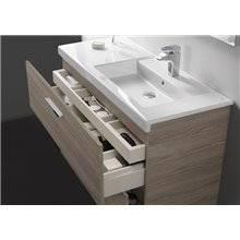 Mueble 80cm dos cajones blanco-fresno Prisma Roca