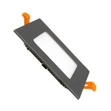 Placa LED cuadrada ultrafina 12x12cm 6W negra