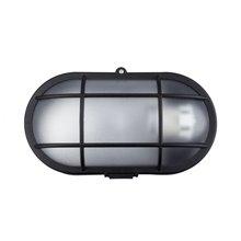 Plafón LED rejilla oval IP44 22x12x6'5cm negro