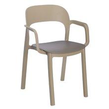 Set de 4 sillas con brazos arena y chocolate Ona Resol