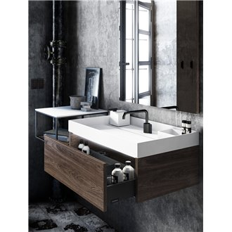 Mueble roble oscuro con lavabo the grid COSMIC