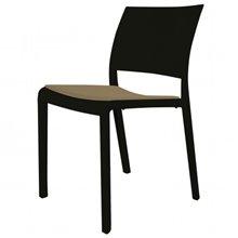 Pack de 4 sillas negras con tapizado arena Fiona Resol