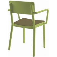 Silla brazos verde tapizado marrón LISBOA Resol