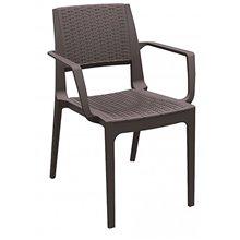 Juego de 4 sillas con brazos marrón Modena Resol