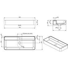 Lavabo rectangular suspendido Sanlife 80x35