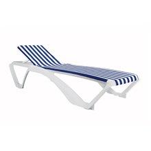 Tumbona blanca con textilene azul/blanco MARINA CLUB de Resol