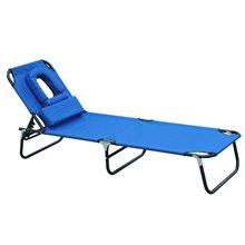 Tumbona Azul con almohada facial Outsunny