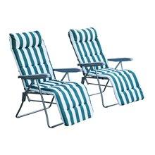 Juego de 2 sillas tumbonas Blanco y Verde Outsunny