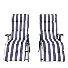 Juego de 2 sillas tumbonas Blanco y Azul Outsunny