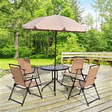 Conjunto de mesa, 4 sillas y sombrilla color...