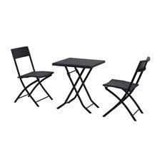 Juego de 2 sillas y mesa Ratán negro Outsunny
