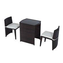 Conjunto elegante de 2 sillas y mesa Ratán Outsunny