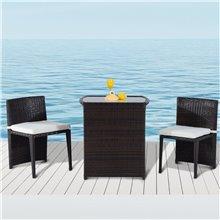 Conjunto elegante de 2 sillas y mesa Ratán...