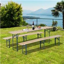 Mesa picnic color madera 218x46x75 Outsunny