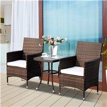 Conjunto de 2 sillas y mesa de ratán marrón...