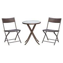 Juego de 2 sillas y mesa Ratán marrón Outsunny