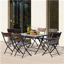 Set de 6 sillas y mesa de 120cm Outsunny