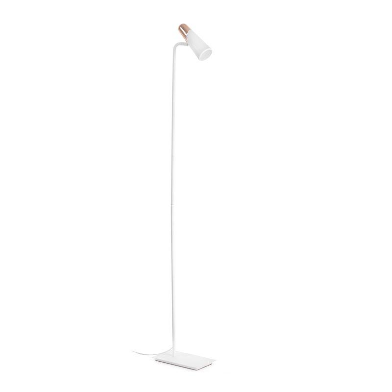 Lámpara pie blanco y cobre LAO 3W Faro