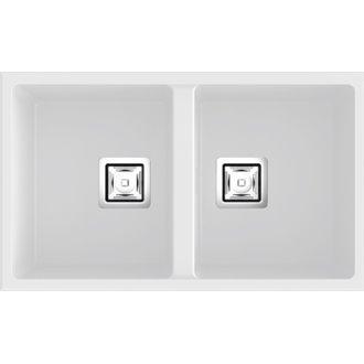 Fregadero de 2 cubas Blanco 75 x 45cm Zie Poalgi