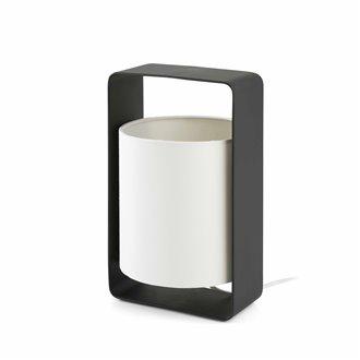Lámpara sobremesa pequeña blanca y negra LULA-P 20W Faro