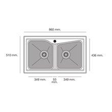 Fregadero de 2 cubas Negro Liso 86 x 51cm City Poalgi