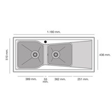 Fregadero de 2 cubas con escurridor Negro Liso 118 x 51cm City Poalgi