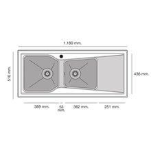 Fregadero de 2 cubas con escurridor Negro Liso 118 x 51cm City Poalgy