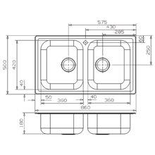 Fregadero Diplomat 20 LUX rectangular Galindo