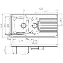 Fregadero REX 1.5 doble seno y escurridor Galindo