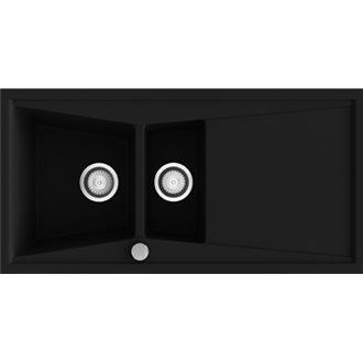 Fregadero de 2 cubas con escurridor Negro Liso 100 x 51cm Kuma Poalgi