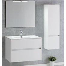 Pack mueble con 2 cajones, lavabo encastrado y espejo DECO LINE Sanchis