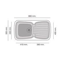 Fregadero de 1 cuba con escurridor Negro Liso 88 x 50,5cm Diamante Basic Poalgi
