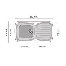 Fregadero de 1 cuba con escurridor Tundra 88 x 50,5cm Diamante Basic Poalgi