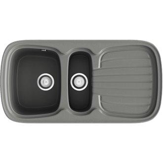 Fregadero de 2 cubas con escurridor Concret  97,5 x 50,5cm Opalo Basic Poalgi