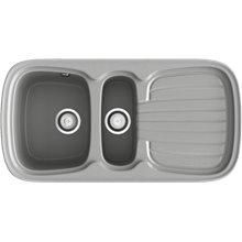 Fregadero de 2 cubas con escurridor Metalizado 97,5 x 50,5cm Opalo Basic Poalgi
