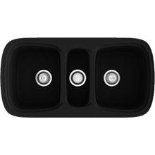 Fregadero de 3 cubas Negro Liso 97,5 x 50,5cm Onice Basic Poalgi