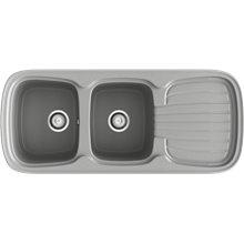 Fregadero de 2 cubas con escurridor Metalizado 117 x 50,50cm Platino Basic Poalgi