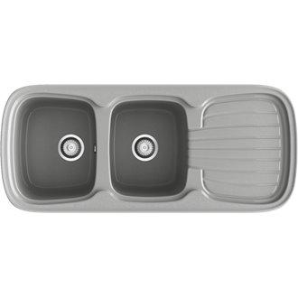 Fregadero de 2 cubas con escurridor Metalizado 117 x 50,5cm Platino Basic Poalgi
